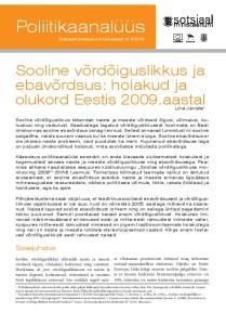 Sooline vordoiguslikkus ja ebavordsus hoiakud ja olukord Eestis 2009